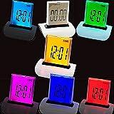 Denshine Digitaler LCD Wecker farbverstellbar mit 7 LED Farben Thermometer & Kalender 1 stuck