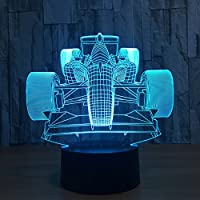Benbroo Remote Control Lamp 3D Visual Led USB Desk Night Light 7 Colors with Telecontroller F1 Equation Racing Car On Acrylic Board Power Supply Micro USB/3 x AAA Battery ...