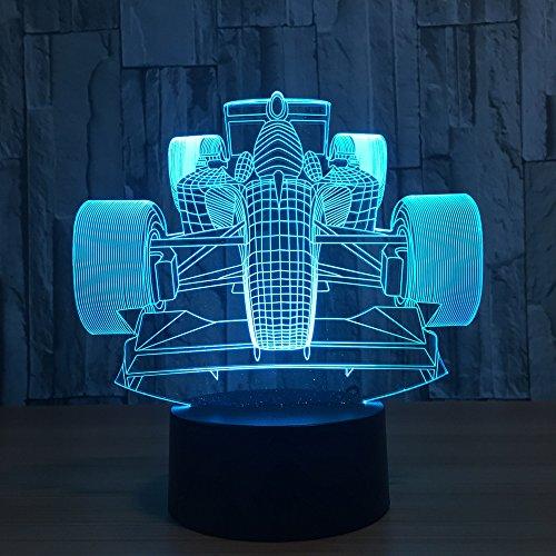 Modèle de voiture de course Lampe d'illusion optique 3D Changement de 7 couleurs Interrupteur tactile Lampes de nuit Led bébé pour Découvert pour les enfants / Décoration intérieure / Cadeau de Noël