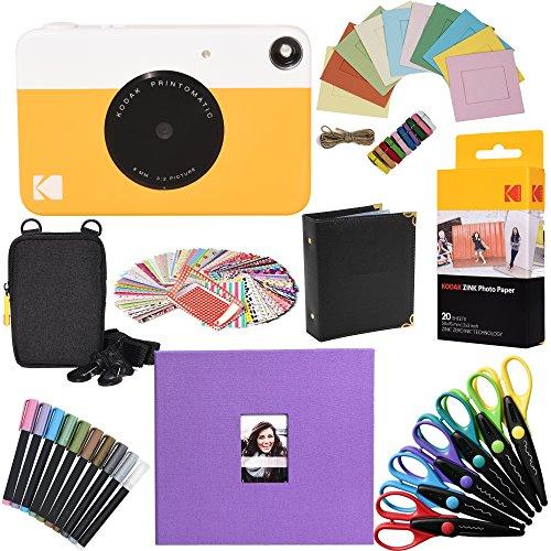 Kodak - pacchetto regalo con fotocamera istantanea printomatic (giallo) + carta zink (20 fogli) + album per ritagli da 20x20cm in tessuto + custodia + 6 forbici per creare bordi decorati + 100 cornici adesive + pennarelli + cornici da appendere + album