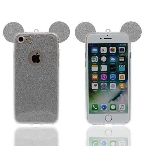 iPhone 6S Copertura Protettiva Bello Cartoon Topo Orecchie Forma Polvere glitter Serie Magro leggera Trasparente Morbido Custodia Case per Apple iPhone 6 6S 4.7 inch bianco