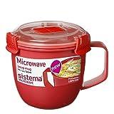 Mikrowellentasse Mikrowellenbecher Suppentasse to go, klein, BPA-freier Kunststoff, ca. 565 ml, ca. 11.5 x 14 x 10.5 cm, rot