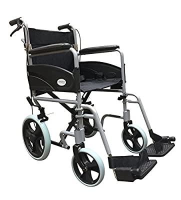 Ultra Lightweight Folding Transit Travel Transport Wheelchair With Handbrakes