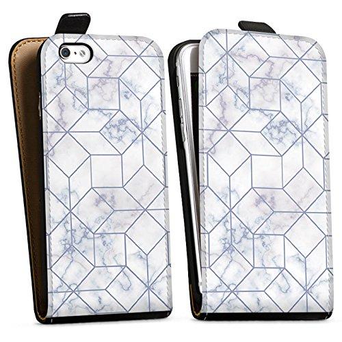Apple iPhone X Silikon Hülle Case Schutzhülle Marble Weiss Muster Downflip Tasche schwarz