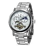 GuTe automatico Sun & Moon Phase quadrante bianco in acciaio inossidabile orologio da uomo