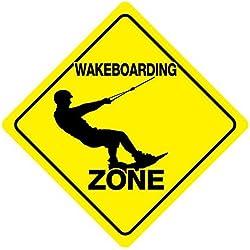 PeteGray Zone de wakeboard Crossing Sign Jaune fantaisie Signes en aluminium en métal Signes Funny plaque en métal Plauqe de Noël cadeaux d'anniversaire