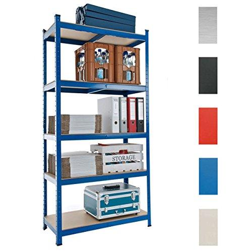CLP Metall Lagerregal mit 875 kg Tragkraft l Schwerlastregal mit 5 Ablagen und Bodenschonern l In Verschiedenen Farben und Größen erhältlich Blau, 90x40x180 cm