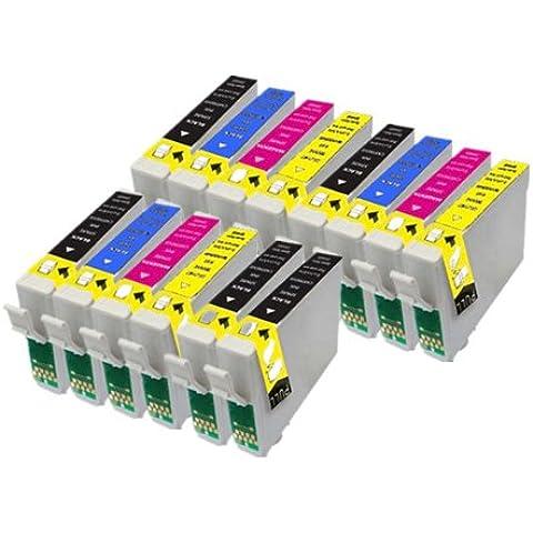 14 Cartuchos de tinta compatibles para Epson Stylus S22 SX125 SX130 SX420W SX425W SX445W BX305F BX305FW SX230 SX235W SX445W SX435W SX430W SX438W SX440W Impresora. 5x T1281 Negro + 3x T1282 Cian + 3x T1283 Magenta + 3x T1284 Amarillo