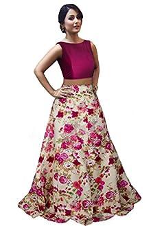 695efcc91 Pink Banglori Satin Silk Digital Floral Printed Salwar Suit for women party  wear (lehenga choli