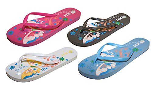 Lot 2 paires Tongs Sandales Claquettes Pieds Nus Femme Peace and Love Vacances Assorties