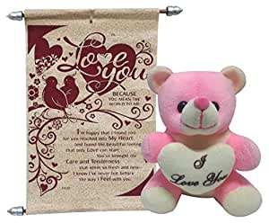 Natali Gift For Girls - I Love You Teddy With Love Scroll Card - Pink
