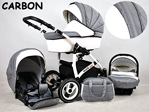 Kinderwagen whitelux, 3 in 1- Set Wanne Buggy Babyschale karbon grau