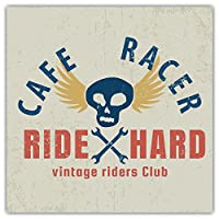 SkyBug Cafe Racer Grunge Bumper Sticker Vinyl Art Decal for Car Truck Van Wall Window (24 X 24 cm)