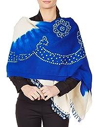 Crème châle bleu emballer des cadeaux laine femmes indiennes Tie-Dye cadeaux de mariage 36x80 pouces main
