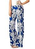 Baymate Damen Wide Leg Printed Haremshose Casual Sommer Langehose Elegante Palazzo Jogginghose Stil 2 L