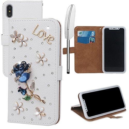 xhorizon MLK Boutique à la main Bling Glitter Housse de portefeuille Elégante et Rose Boîtier de protection en plein corps pour iPhone X / iPhone 10 (2017) avec un stylet DIY62 Blue Rose