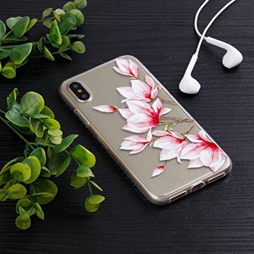 Ecoway Apple iphone X Case Cover, TPU Clear Soft Silicone Impression de la cire d'huile Housse en silicone Housse de protection Housse pour téléphone portable pour Apple iphone X - Motif 1 Motif 14