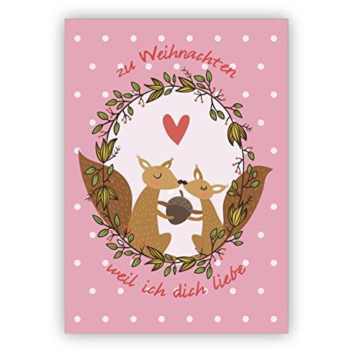 1 Weihnachtsgruß Eichhorn Liebes Weihnachtskarte mit Umschlag, Geschenkkarte zu Weihnachten, Grußkarte zum Weihnachtsfest auf lila: Wenn ich dich habe brauch ich keinen