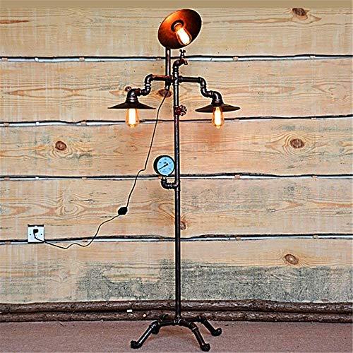Atemberaubende Stehleuchte Industrie Retro Steampunk Kreative Manometer und Hahn Entwurf E27 3 Heads Do The Old Antique Copper Schmiedeeisen Wasserrohr Stehleuchte 1.58m mit Dimming-Schalter