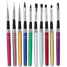 Anself 10pcs Smalto per Unghie Art Design Polacco Brush Pen Set Nylon UV Gel Pittura Strumento Nail Pennello Stampa Decorazione