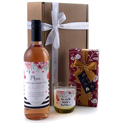 Personalised Wine Label Gift - Mother's Day Chocolates Candle and Wine Gift Hamper Available for Next Day Delivery - Ideal Mother's Day Gift for Her with Rose Wine