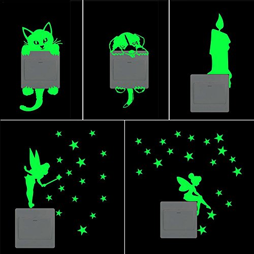 Aufkleber Luminous Wandaufkleber Luminous Switch Aufkleber Fluorescent Aufkleber Kitty Pattern Glühende Aufkleber