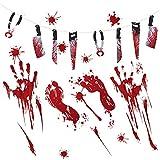 MMTX Halloween Party Deko Horror Hängende Set 9,2ft Scary Hanging Messer Girlande Kit, Blutflecken Fußabdruck und Hände Fenster Wandklammern Aufkleber Splatter Horror Haunted für Halloween Party