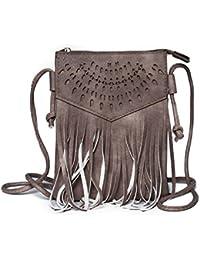 773c59f253a5d Kandharis Damen Umhängetasche Schultertasche Minibag Ethno CrossOver Tasche  mit Fransen…