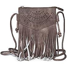 157a2f435b3ad Kandharis Damen Umhängetasche Schultertasche Minibag Ethno CrossOver Tasche  mit Fransen geometrischen CutOut Muster GB-11