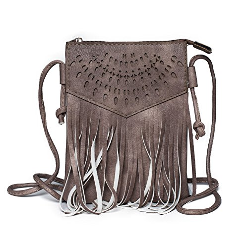 Braun Mit Fransen (Kandharis Damen Umhängetasche Schultertasche Minibag Ethno CrossOver Tasche mit Fransen geometrischen CutOut Muster GB-13 rosiges Braun)