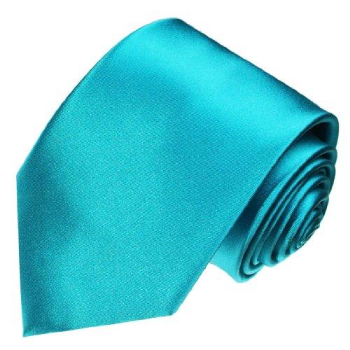 LORENZO CANA - Türkise Marken Krawatte aus 100% Seide - Schlips Binder aus Satinseide - 84443 (Italienische Hemden Aus Seide)