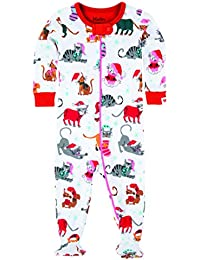 Hatley Footed Coverall-Holiday Cats, Polaina para Bebés