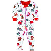 Hatley Baby Girls' Footed Coverall-Holiday Cats Footies