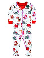 Hatley Baby Girls 0-24m Footed Coverall Footies, Holiday Cats, 6-12 Months