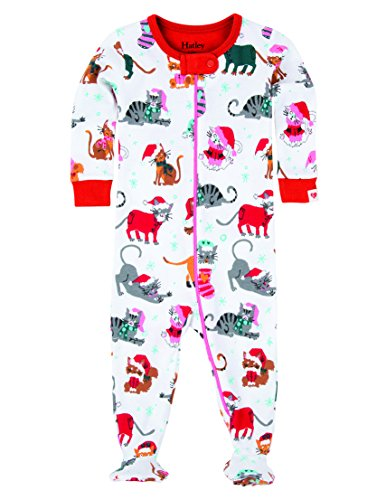 Hatley Footed Coverall-Holiday Cats Grenouillère, Blanc, 3-6 Mois Bébé Fille