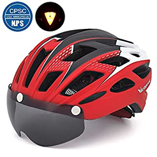 Victgoal Cycle Bike Helmet with Detachable Magnetic Goggles Visor Shield for Women Men, Cycling Mountain & Road Bicycle Helmets Adjustable Adult Safety Protection and Breathable (New Red)