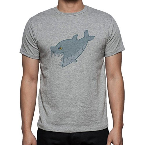 Shark Sea Fish Predator Big Mouth Blue Herren T-Shirt Grau