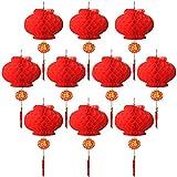 10 Pièces Lanternes Décorations Rouge pour le Nouvel An Chinois, Festival de Printemps, Mariage, Décoration de Restaurant