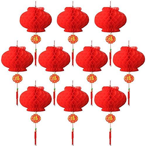 Juego 10 faroles chinos color rojo decoración
