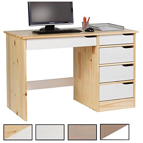 IDIMEX Schreibtisch Hugo Kinderschreibtisch Schülerschreibtisch Bürotisch mit 5 Schubladen, Kiefer