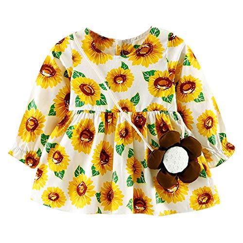 feiXIANG Mädchen Kleid Kostüm mit Tasche Casual Kleider Langarm Baby Kleinkind Dress Druckkleider Frühjahr Sommer (Orange,90)