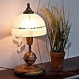 Jugendstil Tischleuchte in einem kräftigen Bronzeton E14 Fassung mit Kabelschalter Tischlampe Nachttischleuchte Nachttischlampe Schlafzimmer