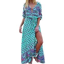 Vestido largo Amlaiworld Mujer Boho vestido de noche Maxi playa Sundress