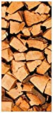 Wallario Selbstklebende Türtapete mit Schutzlaminat, Motiv: Holzstapel gehackt - Holzscheite für den Kamin - Größe: 93 x 205 cm in Premium-Qualität: Abwischbar, brillante Farben, rückstandsfrei zu entfernen