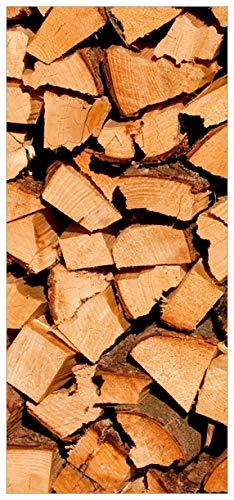 Wallario Selbstklebende Türtapete mit Schutzlaminat, Motiv: Holzstapel gehackt - Holzscheite für den Kamin - Größe: 93 x 205 cm in Premium-Qualität: Abwischbar, brillante Farben, rückstandsfrei zu entfernen - Den Holzscheite Für Kamin