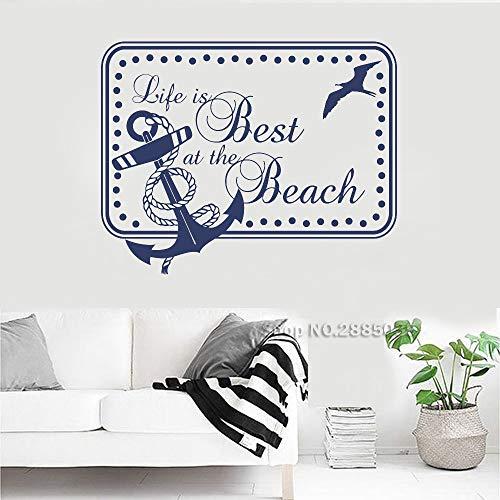 Zhuhuimin Das Leben ist am besten am Strand mit Anker Wandaufkleber Zitate Art Vinyl Boys Schlafzimmer Dekor Wandbild Teen Zimmer Wohnheim Wandtattoo Hot 3 54x42cm (Zimmer Teen Dekor)