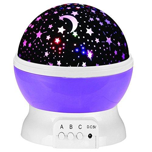 Preisvergleich Produktbild YUNTAB Projektor Sun Stern-Beleuchtung 360 Grad drehbar Star Projektor Romantische Nacht Lampe Projektion 4 LED Lichtprojektor-Baby-Kinderzimmer-Schlafzimmer Kinder Zimmer und Weihnachts-Geschenk (Lila)