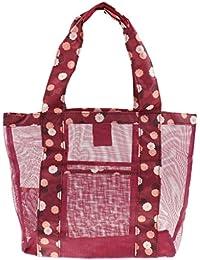 Magideal Multi-use Travel Mesh Storage Bag Cosmetic Toiletry Beach Bag Daisy Burgundy