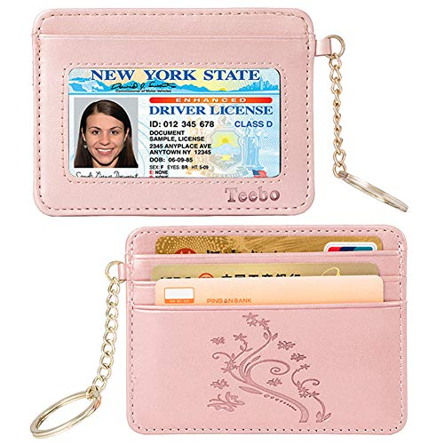 Teebo Leather Soft Slim Minimalist Card Holders Womens Wallets RFID Blocking Butterfly Flower Pattern-Rose Gold