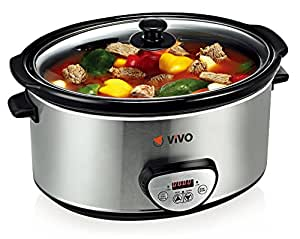 Vivo © Sear and Stew Slow Cooker Digital Timer 6.5L Brushed Steel Food Kitchen Like Instant Kettle/Air Pot Complete with Carry Handle
